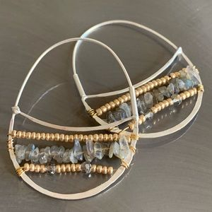 Anthropologie natural stone wire earrings